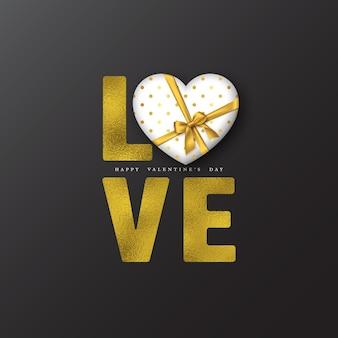 Valentijnsdag vakantie. glitter woord liefde met folie-effect en 3d-hart.