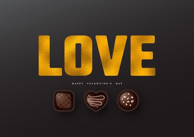Valentijnsdag vakantie. glitter woord liefde met folie-effect en 3d-realistische snoepjes.