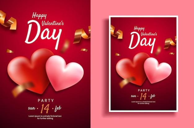 Valentijnsdag. valentijnsdag partij folder sjabloon. harten op een rode achtergrond met serpentijn.