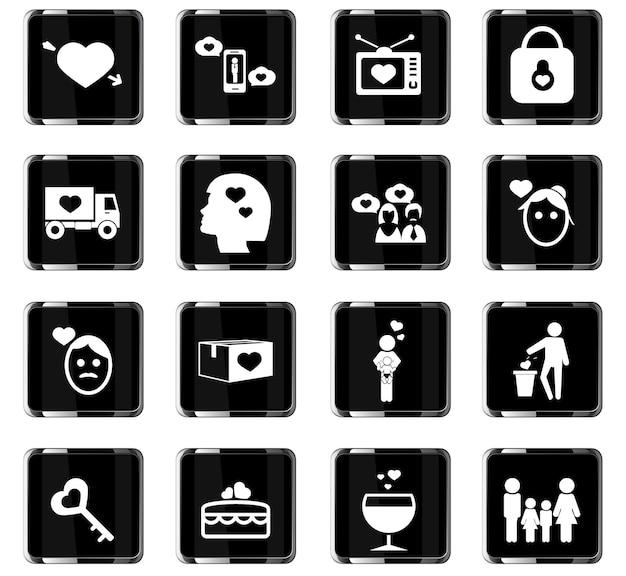 Valentijnsdag vector iconen voor gebruikersinterface ontwerp