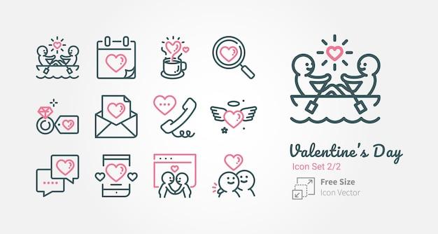 Valentijnsdag vector icoon collectie met omtrek lijn