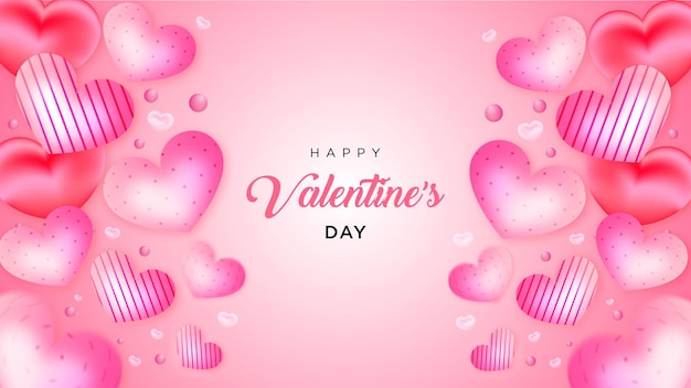 Valentijnsdag veel liefje realistische stijlachtergrond of banner premium vector