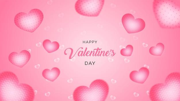 Valentijnsdag veel zoete hart realistische stijl roze achtergrond of banner premium vector