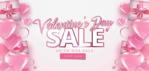 Valentijnsdag verkoop 50% korting op banner met veel zoete harten.