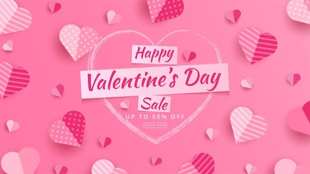 Valentijnsdag verkoop 50% korting op poster of spandoek met veel zoete harten en op rood. promotie- en winkelsjabloon of voor liefde op papierstijl