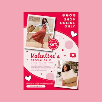 Valentijnsdag verkoop a4 poster sjabloon