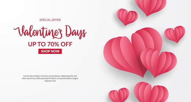 Valentijnsdag verkoop aanbieding banner. hou van hartvorm papier gesneden stijl. met witte achtergrond