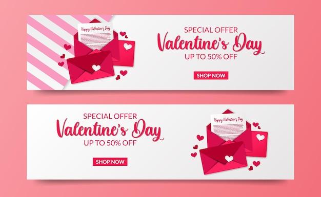 Valentijnsdag verkoop aanbieding banner kaartsjabloon met liefdesbrief envelop illustratie
