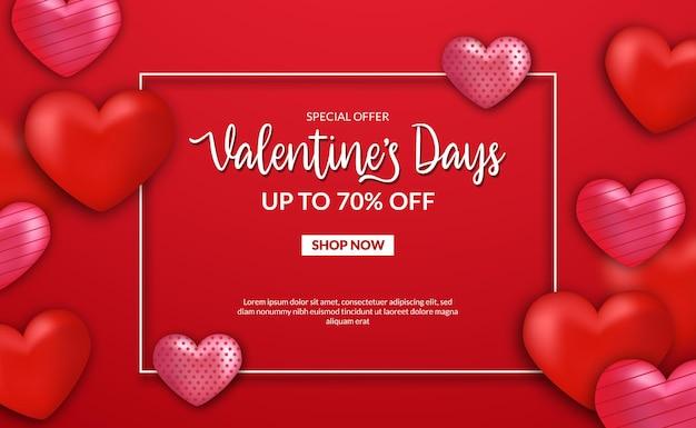 Valentijnsdag verkoop aanbieding banner sjabloon met 3d liefde hart vorm illustratie