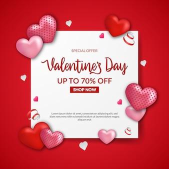 Valentijnsdag verkoop aanbieding sjabloon voor spandoek met realistisch rood hart