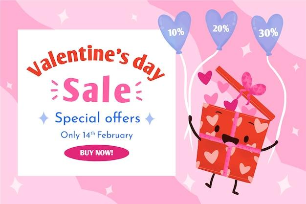 Valentijnsdag verkoop achtergrond geïllustreerd