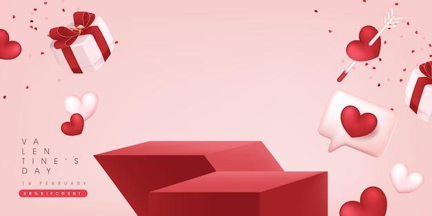 Valentijnsdag verkoop banner achtergrondgeluid met productvertoning.
