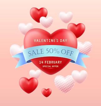 Valentijnsdag verkoop. banner, flyer, poster, wenskaart.