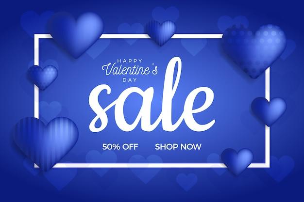 Valentijnsdag verkoop banner in trend klassieke blauwe kleur met ballonnen hart