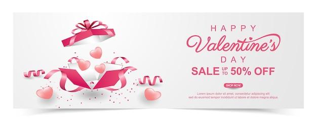Valentijnsdag verkoop banner met geschenkdoos en liefje. promotie en shopping sjabloon