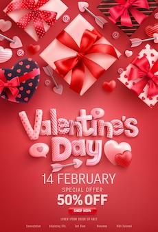 Valentijnsdag verkoop banner met geschenkdoos op rood