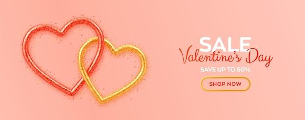Valentijnsdag verkoop banner met glanzende harten