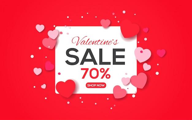 Valentijnsdag verkoop banner met harten