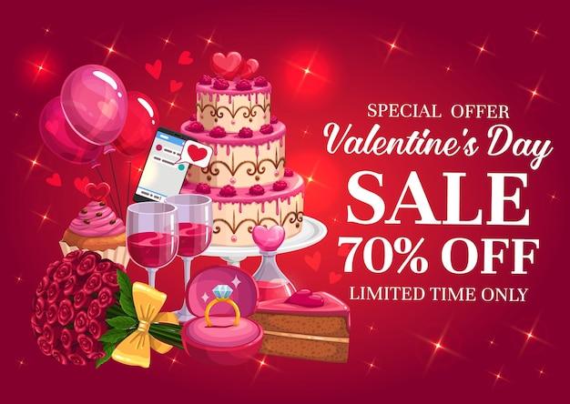 Valentijnsdag verkoop banner met hartjes en geschenken