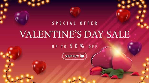 Valentijnsdag verkoop banner met hartvormige ballonnen