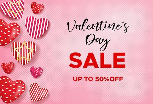 Valentijnsdag verkoop banner met liefde ballonnen