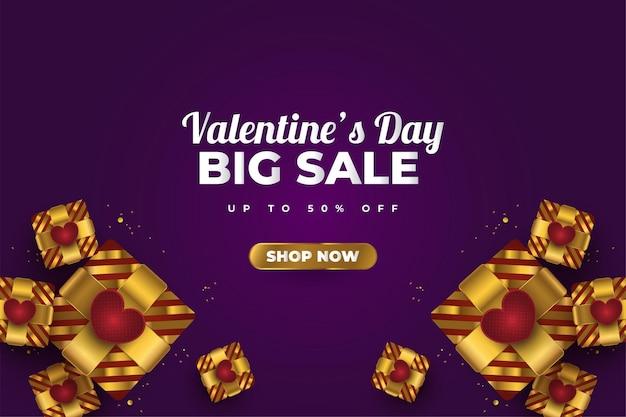 Valentijnsdag verkoop banner met realistische gouden geschenkdozen, rode harten en glitter gouden confetti