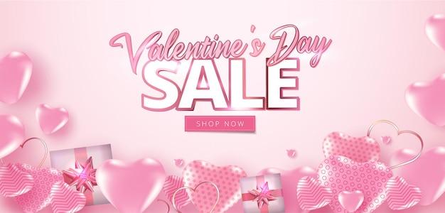 Valentijnsdag verkoop banner met veel zoete harten.