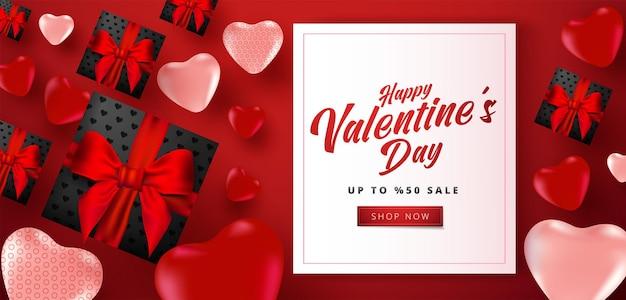 Valentijnsdag verkoop banner met veel zoete harten
