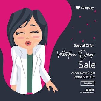 Valentijnsdag verkoop banner ontwerp met dame arts maakt een steenbolk.
