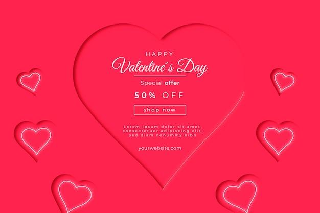 Valentijnsdag verkoop banner op papier stijl