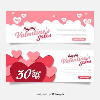 Valentijnsdag verkoop banners in papier stijl