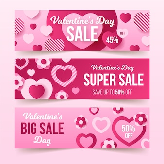 Valentijnsdag verkoop banners in plat ontwerp