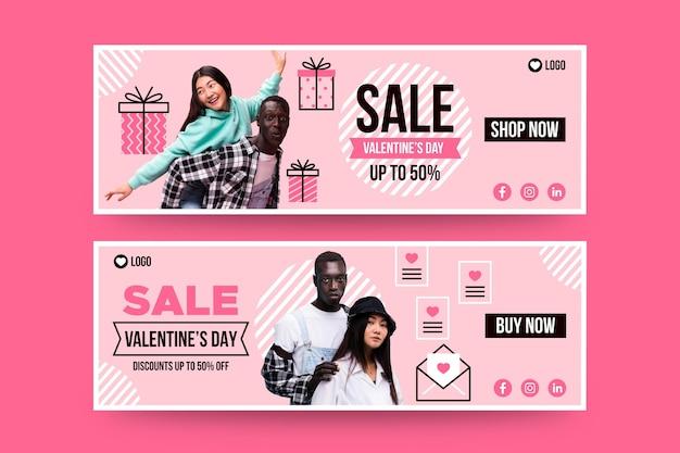 Valentijnsdag verkoop banners met foto