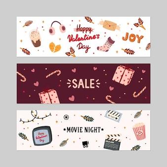 Valentijnsdag verkoop banners set