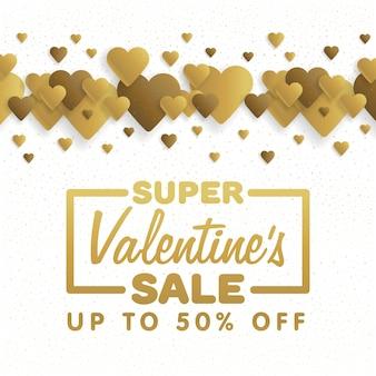 Valentijnsdag verkoop. belettering met hartjes op de achtergrond. vector illustratie.