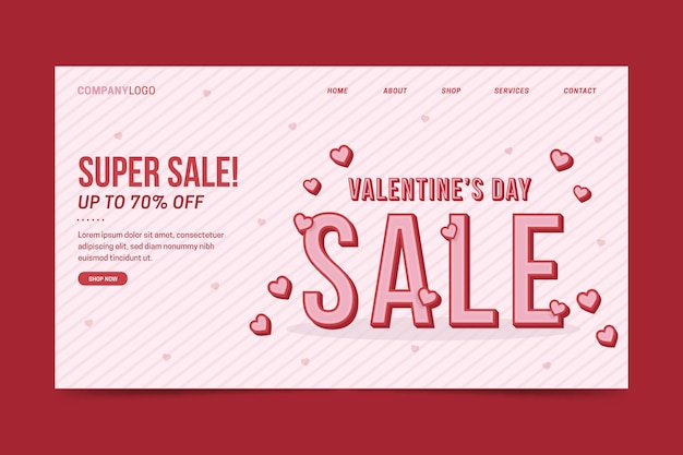 Valentijnsdag verkoop bestemmingspagina sjabloon