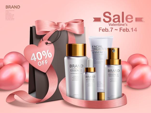 Valentijnsdag verkoop, cosmetische gift set met zwarte papieren zak en roze ballonnen, 3d illustratie