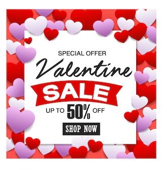 Valentijnsdag verkoop, discont-kaart.