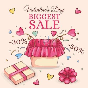 Valentijnsdag verkoop handgetekende
