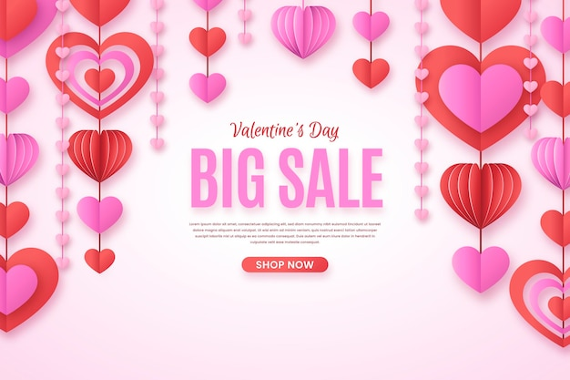 Valentijnsdag verkoop in papieren stijl