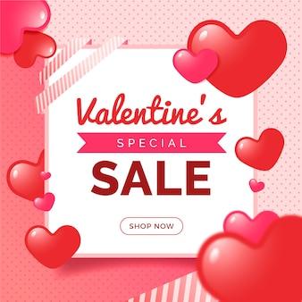 Valentijnsdag verkoop in plat ontwerp