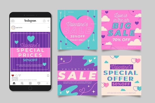 Valentijnsdag verkoop instagram post met telefoon