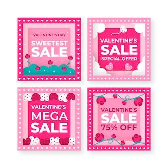 Valentijnsdag verkoop instagram post set