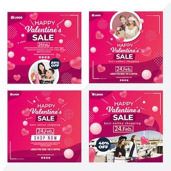 Valentijnsdag verkoop instagram verhalen ingesteld
