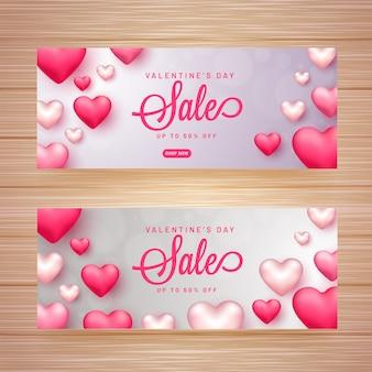 Valentijnsdag verkoop koptekst of banner set met 50% kortingsaanbieding