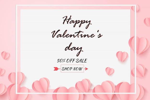 Valentijnsdag verkoop met ballon hart patroon.