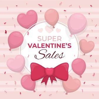 Valentijnsdag verkoop met ballonnen en harten