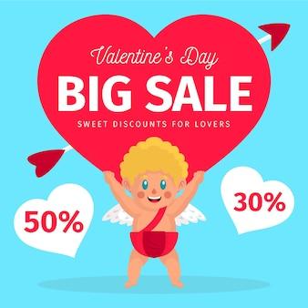 Valentijnsdag verkoop met cupido karakter