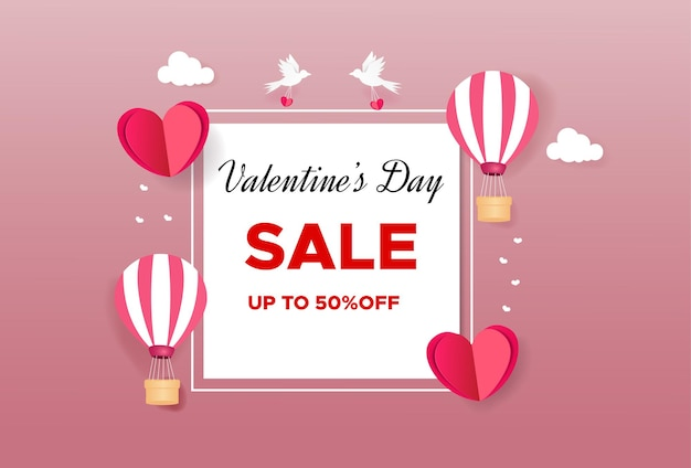 Valentijnsdag verkoop met hartjes en luchtballonnen