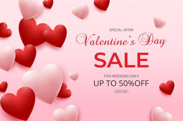 Valentijnsdag verkoop met roze en rode harten ballonnen